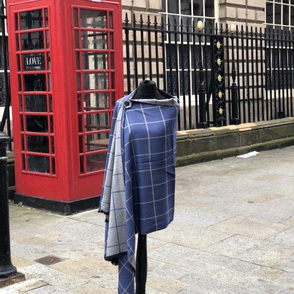 blue check scarf shawl wrap