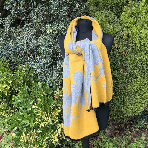 Cashmere Mix Mustard  Abstract Flower Shawl/ Wrap