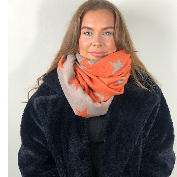orange and beige star scarf