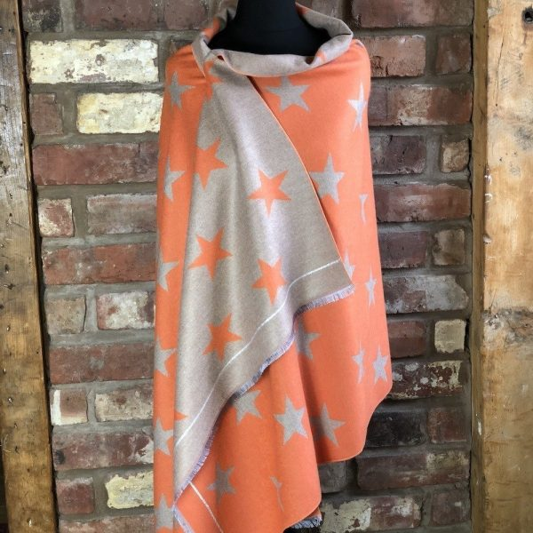 orange cashmere blend star scarf