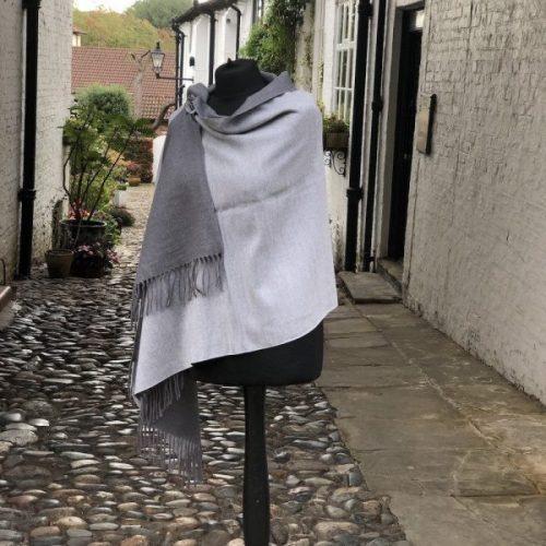 Cashmere Blend Plain Light / Dark Grey Reversible Wrap