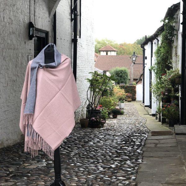 pink grey plain luxury cash mere wrap