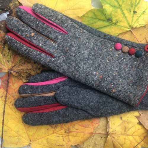 Grey Stylish Tweed Button Gloves