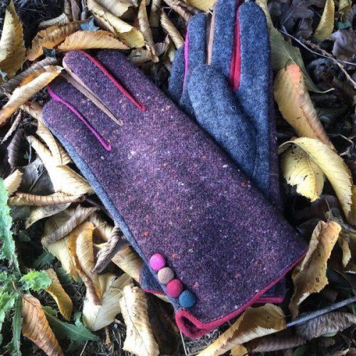 Purple Stylish Tweed Button Gloves