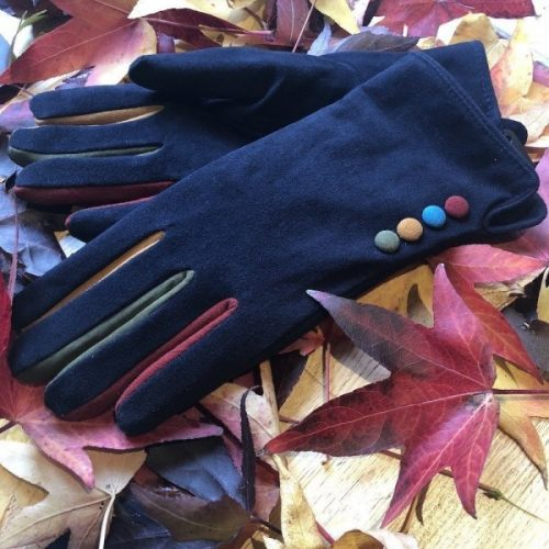 Navy Suede Button Gloves with Fleece Lining