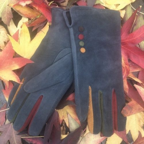 Grey Suede Button Gloves with Fleece Lining