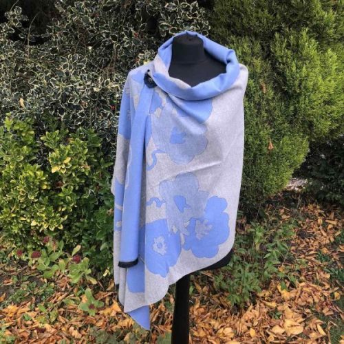 Cashmere Mix Blue Abstract Flower Shawl/ Wrap