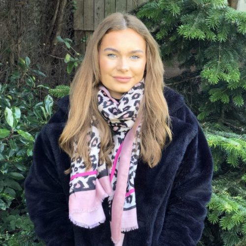 Pink and Cerise Edged Animal Print Scarf