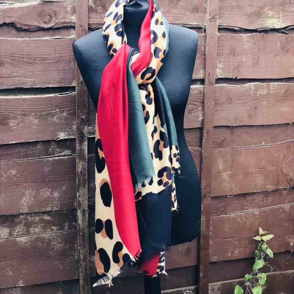 red and green animal print scarf