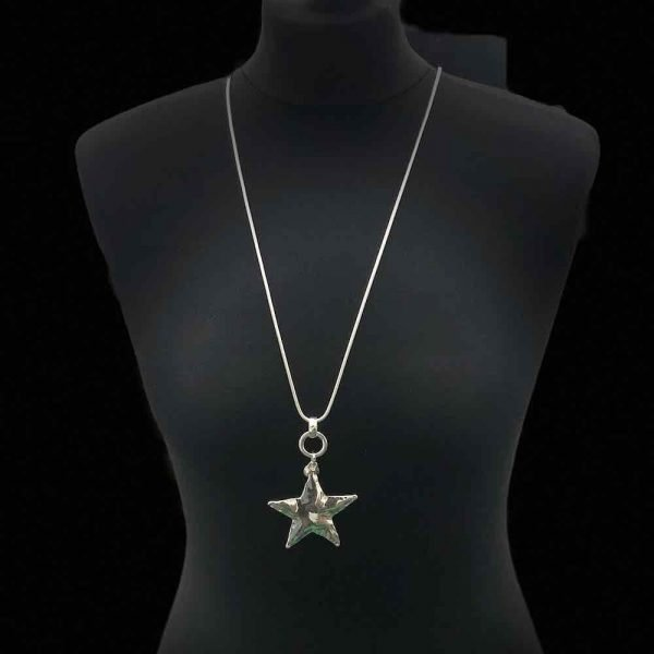 Silver Plaited Long Star Necklace