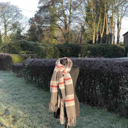 Grey Red Check Scarf