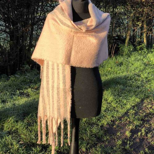 Pink striped cosy and super warm tassled big scarf.