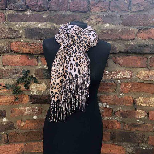 Cashmere and Viscose Leopard Print Tassled Scarf