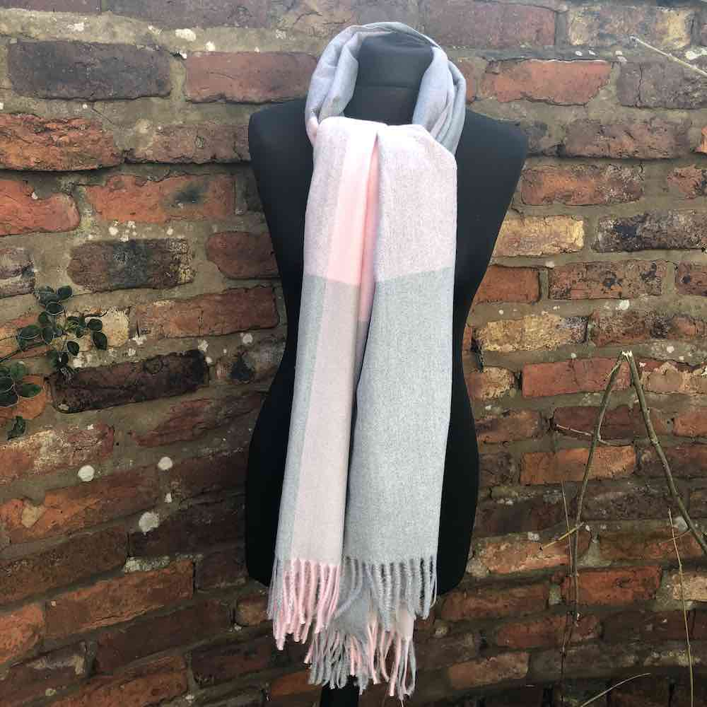 Cashmere Blend Check Scarf with Tassels