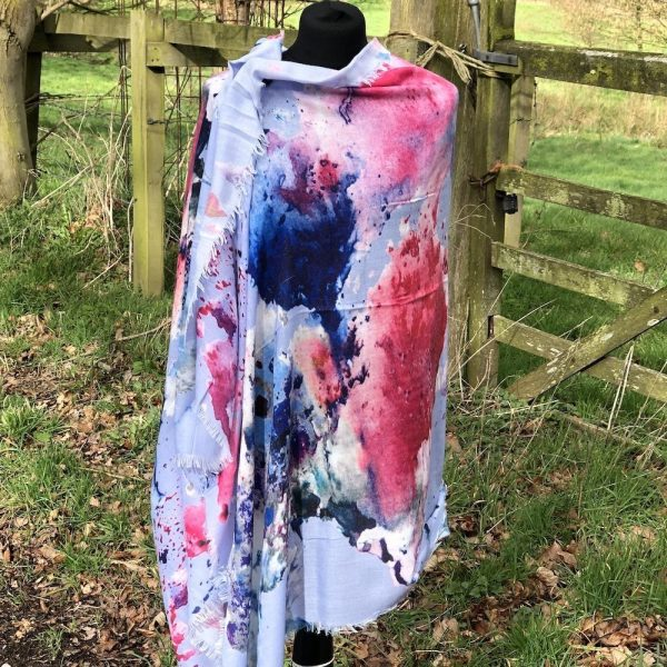 Indigo Cashmere Blend Abstract and Screen Printed Scarf.