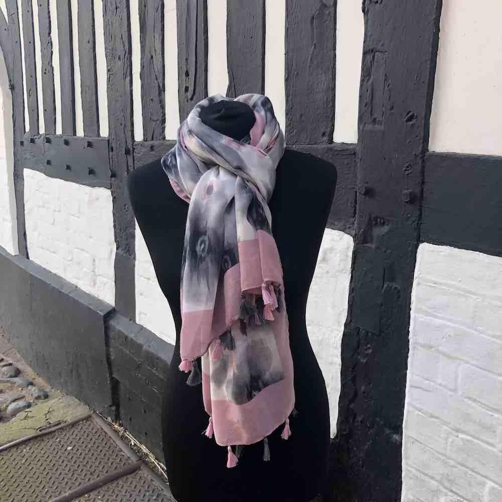 New Season Pink Leopard Print Tassel Scarf
