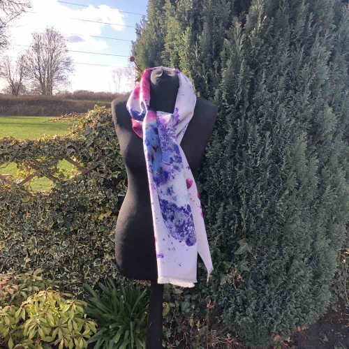 Cashmere Blend Watercolour Indigo Luxury Wrap or Scarf