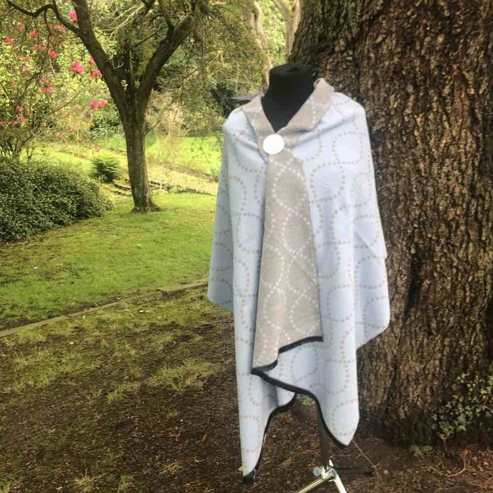 Blue/Grey Revesible Luxury Cashmere Blend Sqiggle Wrap