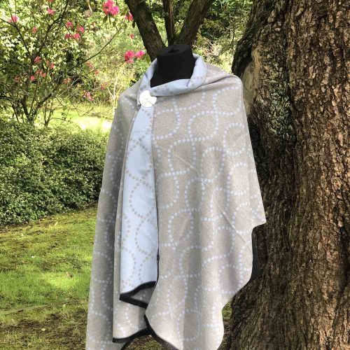 Blue/Grey Reversible Luxury Cashmere Blend Sqiggle Wrap