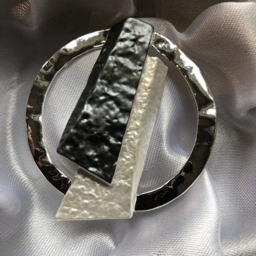 Contemporary Grey/White/ Silver Brooch