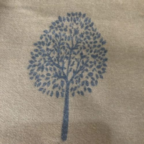 Mulberry Tree of Life Camel and Grey  Cashmere Blend Reversible Scarf