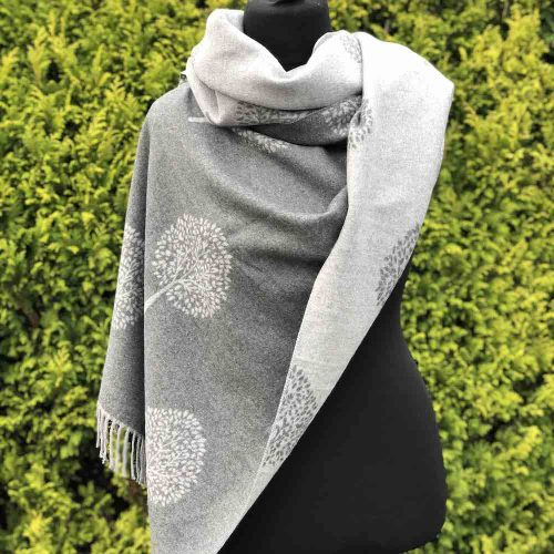 Light and Dark Grey Mulberry Tree of Life Cashmere Blend Reversible Scarf