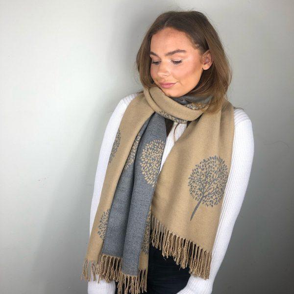 Cameland grey reversible cashmere blend scarf