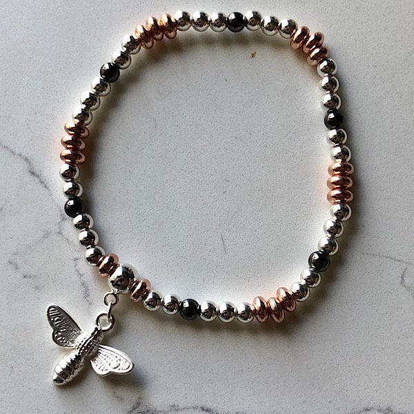 Tri coloured Bee bracelet