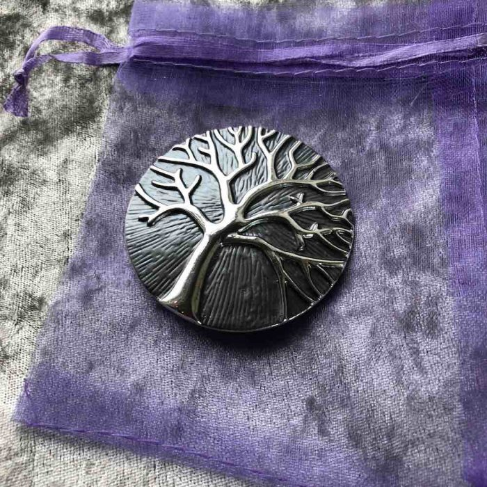 Dark grey Magnetic tree of life brooch