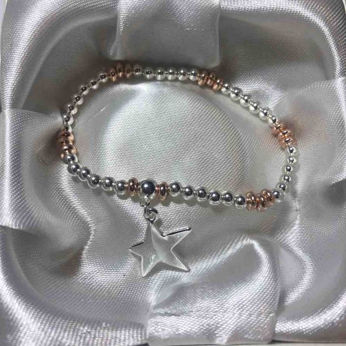 rose gold and silver star bracelet
