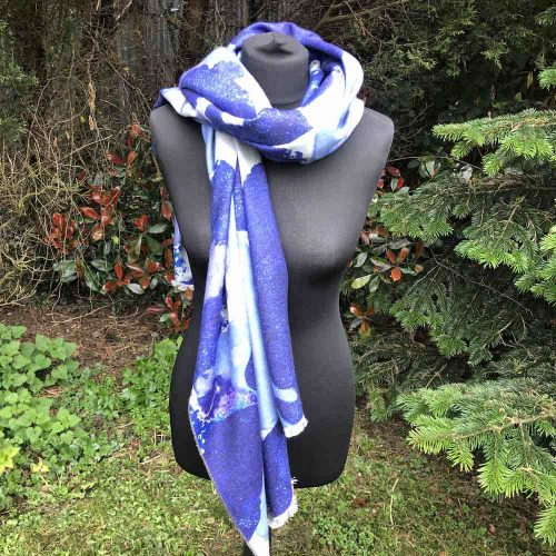 Blue Tones Luxury Cashmere Blend Wrap/Scarf