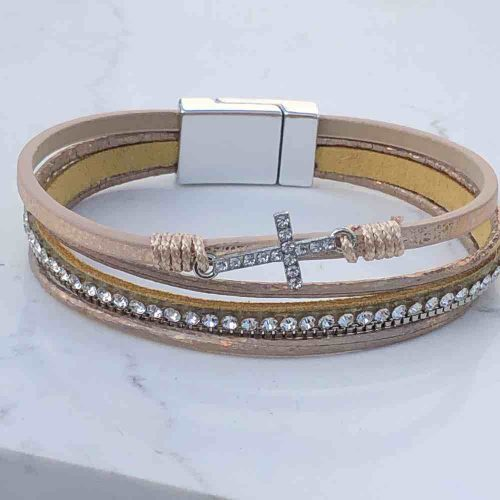 Soft Gold Crucifix Magnetic Bracelet