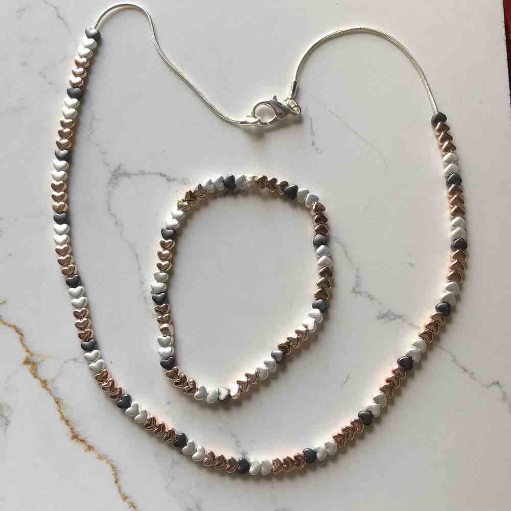 heart and bracelet set