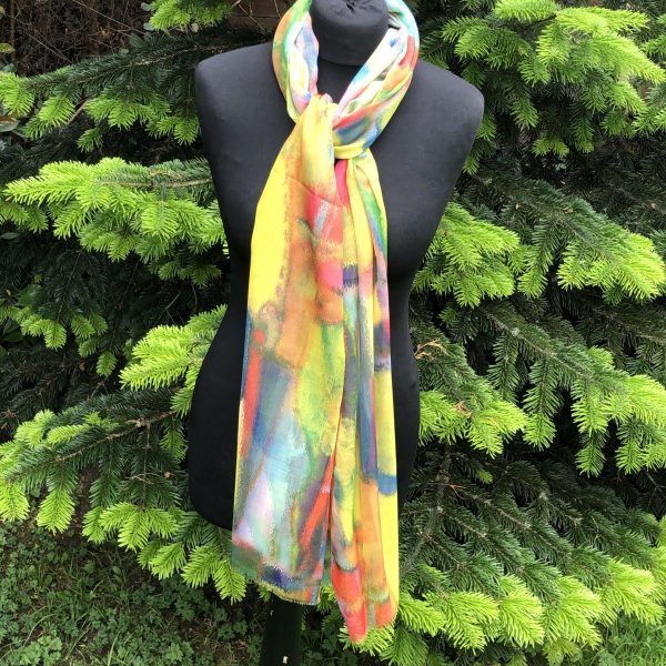 smudgy design scarf in beautiful summer hues