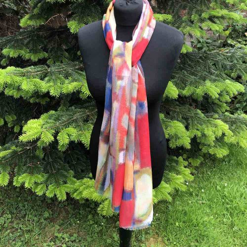 Vibrant Blue and Orange Scarf