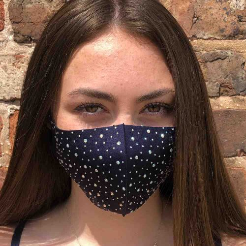 Navy Sparkly Crystal Face Party Mask