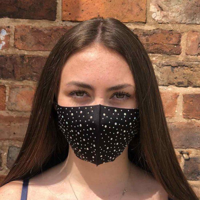 black sparkley face mask
