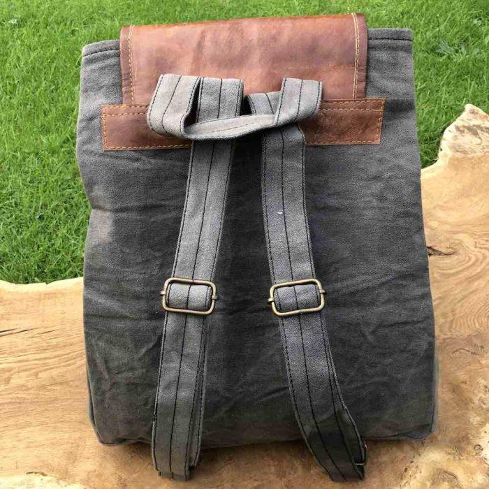 back of grey backpack showing adjustable straps