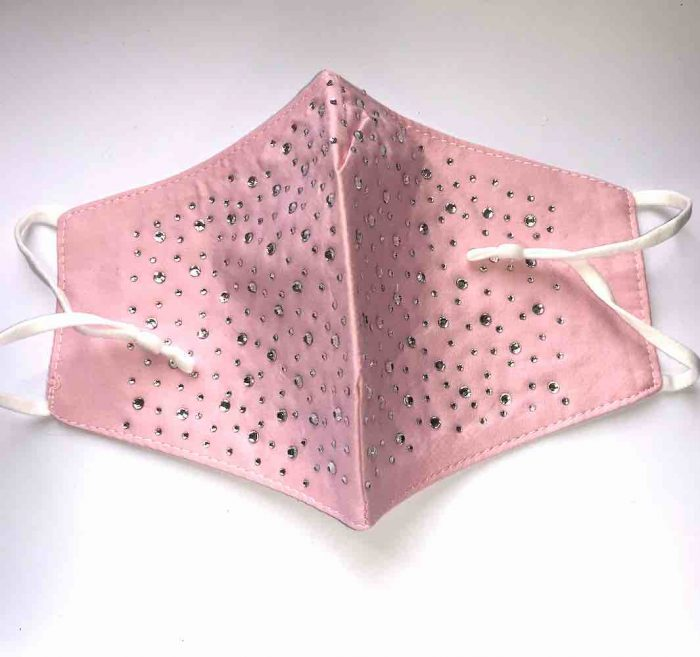 picture of sparkly pink cotton mask
