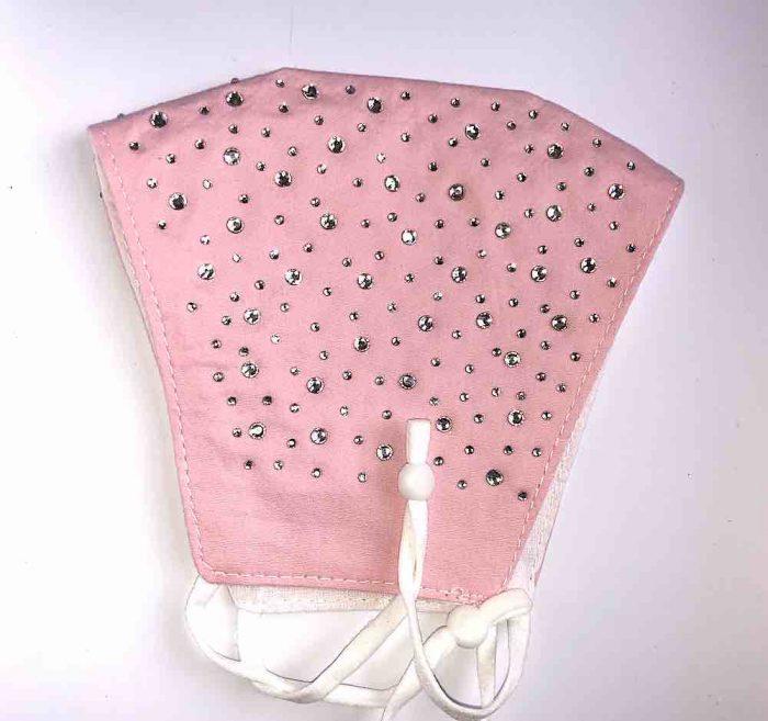folded sparkly pink mask