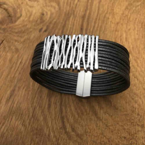 Grey Magnetic Corded Squiggle Bracelet