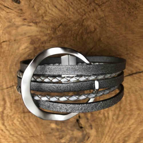 Magnetic Grey Faux Leather Circle  Bracelet