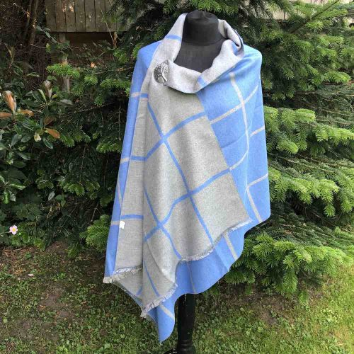 Blue large check wrap scarf