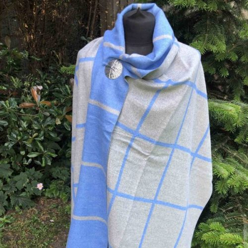 Blue/Grey Reversible Check Luxury Cashmere Blend Scarf or Wrap