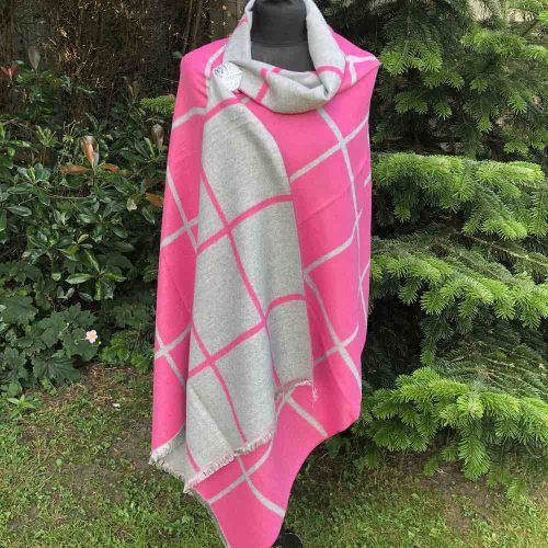 Pink and Grey Large Check Reversible Cashmere Blend Wrap Scarf