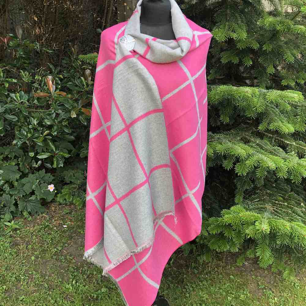 photo of pink reversible cashemere blend scarf wrap