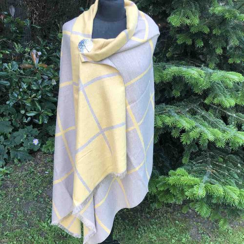 Soft Mustard And Beige Reversible Large Check Wrap or Scarf