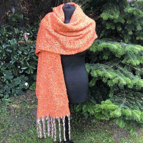 Thick Orange Winter Scarf with Tassels