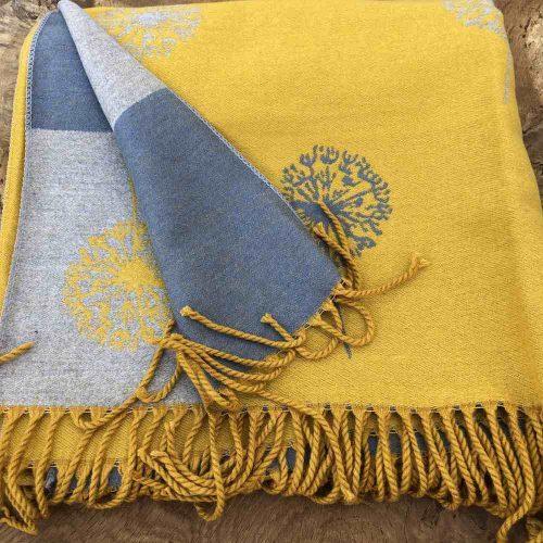 Mustard Dandelion Reversible Cashmere Blend Scarf Or Wrap