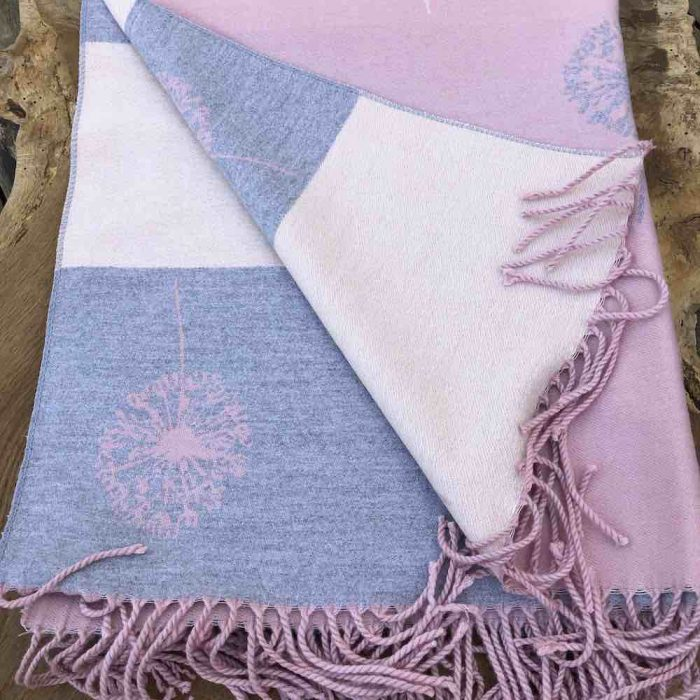 folded pink reversible scarf